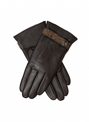 Картинка Dents Women's Wool Lined Leather Gloves with Abraham Moon Tweed Detail