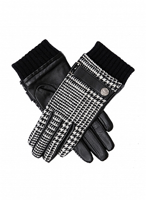 Картинка Dents Women's Houndstooth & Leather Gloves